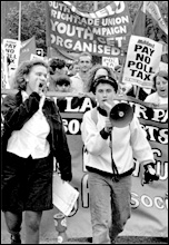 Militant supporters march against the poll tax, photo by Steve Gardner