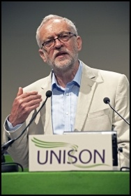 Jeremy Corbyn at 2016 Unison conference photo Paul Mattsson, photo Paul Mattsson