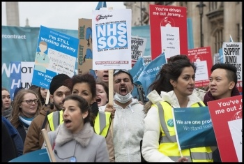 Junior doctors march during the last wave of NHS  action. photo Paul Mattsson