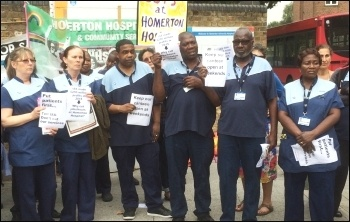 Protest of Homerton hospital ISS workers on 25 August 2016, photo Clare Doyle