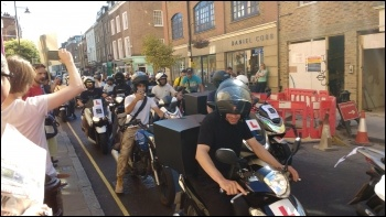 UberEats workers ride into town to face down their bosses photo Scott Jones, photo Scott Jones