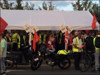 Workers on the picket line at the Lea Interchange photo Isai Priya