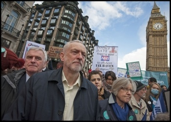 John McDonnell and Jeremy Corbyn march with teachers and striking doctors, photo Paul Mattsson