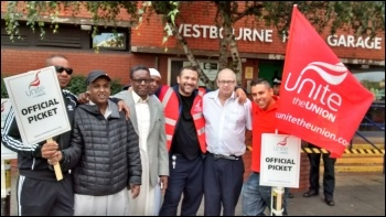 Picket line at Westbourne Park, photo by Chris Newby