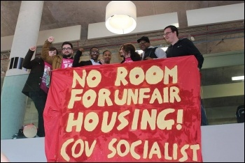 Coventry Socialist Students protesting against sky-high housing costs, photo by Coventry Socialist Students