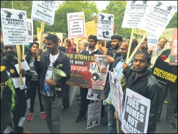 Tamil Solidarity activists marching for refugees' rights, 17.9.16, photo Senan