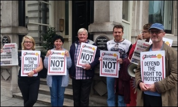Socialist Party members protesting outside London's Irish embassy against persecution of the Jobstown protesters, photo by Neil Cafferky