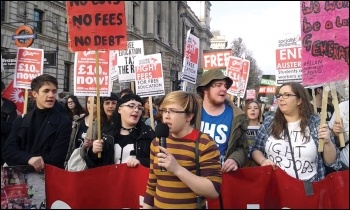 Socialist Students marching against fees, cuts and poverty pay, photo Sarah Wrack