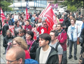 Socialist Party members defied a sectarian ban to march against the far right in Newcastle, 24.9.16, photo by Nick Fray