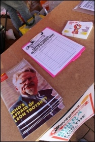 Socialism Today on sale at the Tory party conference demo 2 October 2016 photo Samantha Smith