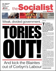 The Socialist issue 919 front page: Tories out!