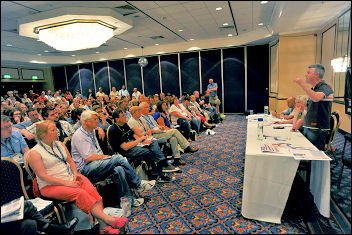 Glenn Kelly, one of the four, Branch Secretary of Bromley Unison and Unison national executive, addresses the Reclaim the Union fringe meeting at Unison conference 2009, photo Paul Mattsson