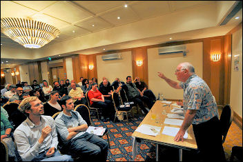 Unison conference 2009: Peter Taaffe at the Socialist Party fringe meeting, photo Paul Mattsson