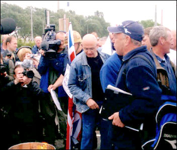 Lindsey Oil Refinery: Keith Gibson at the burning of the redundancy notices, photo Jim Reeves