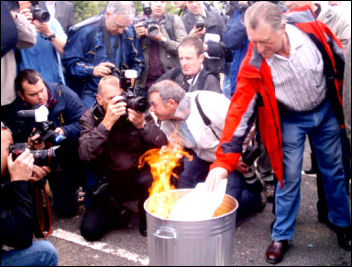 Lindsey Oil Refinery solidarity strikes: Publicly burning the redundancy notices, photo Jim Reeves