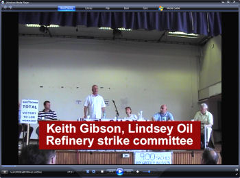 Keith Gibson, LOR strike commtittee speaks to the National Shop Stewards Network conference 2009, photo Socialist Party