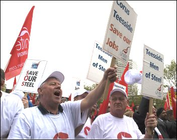 Corus workers protest, photo by Paul Mattsson