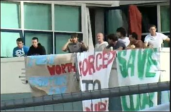 Vestas wind turbine plant workers occupy to protest against redundancies, photo RMT television