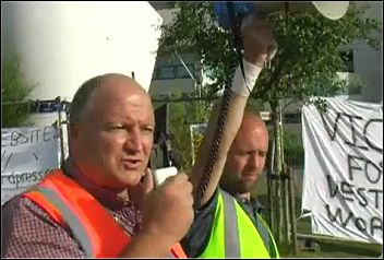 Bob Crow, RMT general secretary speaks to Vestas wind turbine workers occupying to protest against redundancies, photo RMT television