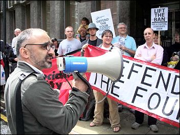 Onay Kasab addressed a lobby of Unison HQ in 2009 to protest against banning from office of Socialist Party members, photo Alison Hill