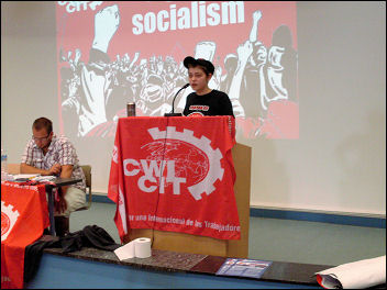 Cecile, of Gauche Revolutionaire, France, speaking at the European CWI school, photo Bob Severn