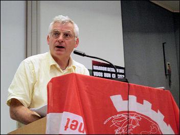 Joe Higgins MEP, Socialist Party Ireland, speaking at the European CWI school, photo Bob Severn