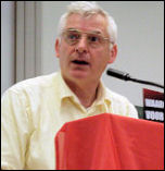 Joe Higgins MEP, Socialist Party Ireland, speaking at the European CWI school, photo Bob Severn