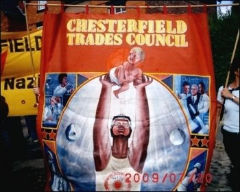 Trade union banners on the protest against the BNP's 'festival of hate', photo Jim Reaves