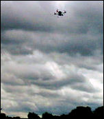 Police drone flying above anti-BNP protest, photo by Jim Reaves