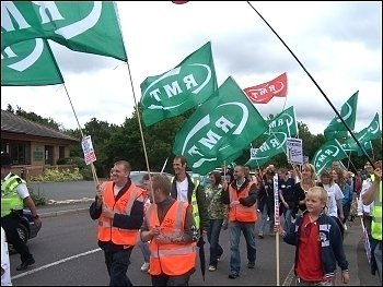 Vestas wind turbine plant workers occupy and demonstrate against closure, supported by the RMT, photo Senan