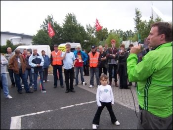 Socialist Party councillor Rob Windsor addresses Vestas wind turbine plant workers in occupation during demonstration against closure, photo Senan
