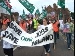 Vestas wind turbine plant workers occupy and demonstrate against closure, photo Senan