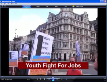 Youth Fight for Jobs protest outside Parliament against 1 million unemployed young people, photo by Socialist Party