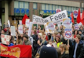 Students protest against fees, photo by Socialist Party