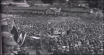 A Communist leader addresses survivors of the Long March