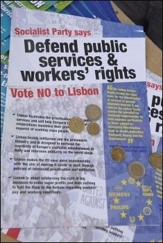 Socialist Party leaflet campaigning for the no vote in Ireland in 2008, photo Paul Mattsson
