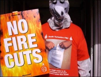 South Yorkshire firefighters demonstrate against cuts, photo A. Tice
