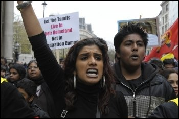 Protesting against the Sri Lankan government's attacks on Tamils in April 2009, photo by Paul Mattsson