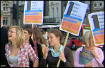 Youth Fight for Jobs protest outside Parliament, photo by youthfightforjobs.com