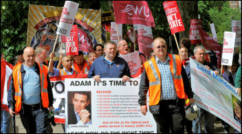 London postal workers demonstrate, photo Paul Mattsson