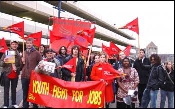 Huddersfield Youth Fight for Jobs march, photo Huddersfield YFFJ
