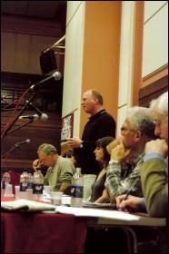 Matt Wrack, Fire Brigades Union (FBU) general secretary, addresses Socialism 2009, photo Rob Emery