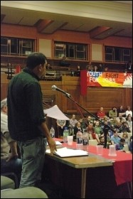Senan addresses Socialism 2009 about the situation facing Tamils in Sri Lanka, photo Rob Emery