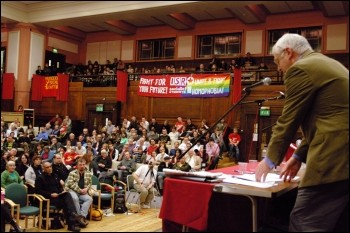 Joe Higgins, Irish Socialist Party MEP addresses Socialism 2009, photo Rob Emery