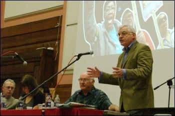 Joe Higgins, Irish Socialist Party MEP addresses Socialism 2009, photo Rob Emery