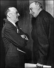 John Maynard Keynes (on right) at the Bretton Woods conference