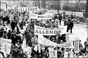 Marchers in support of Salvador Allende in Chile 1964, photo by James N. Wallace