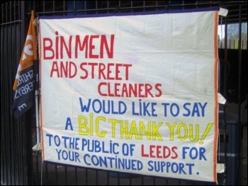Leeds bin workers received marvellous support, photo Leeds Socialist Party