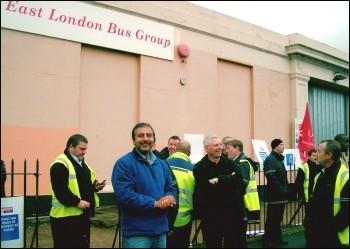 East London bus workers strike in November 2009, photo Pete Mason