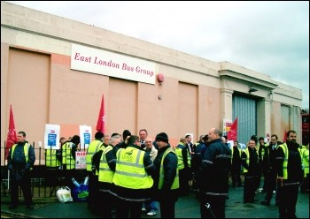 East London bus workers strike at Barking,, photo Pete Mason